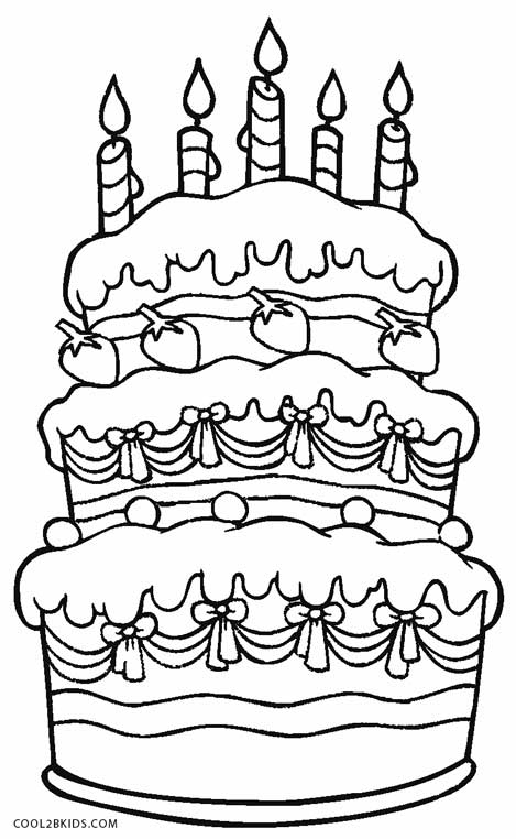 Pictures Of Birthday Cakes Colouring