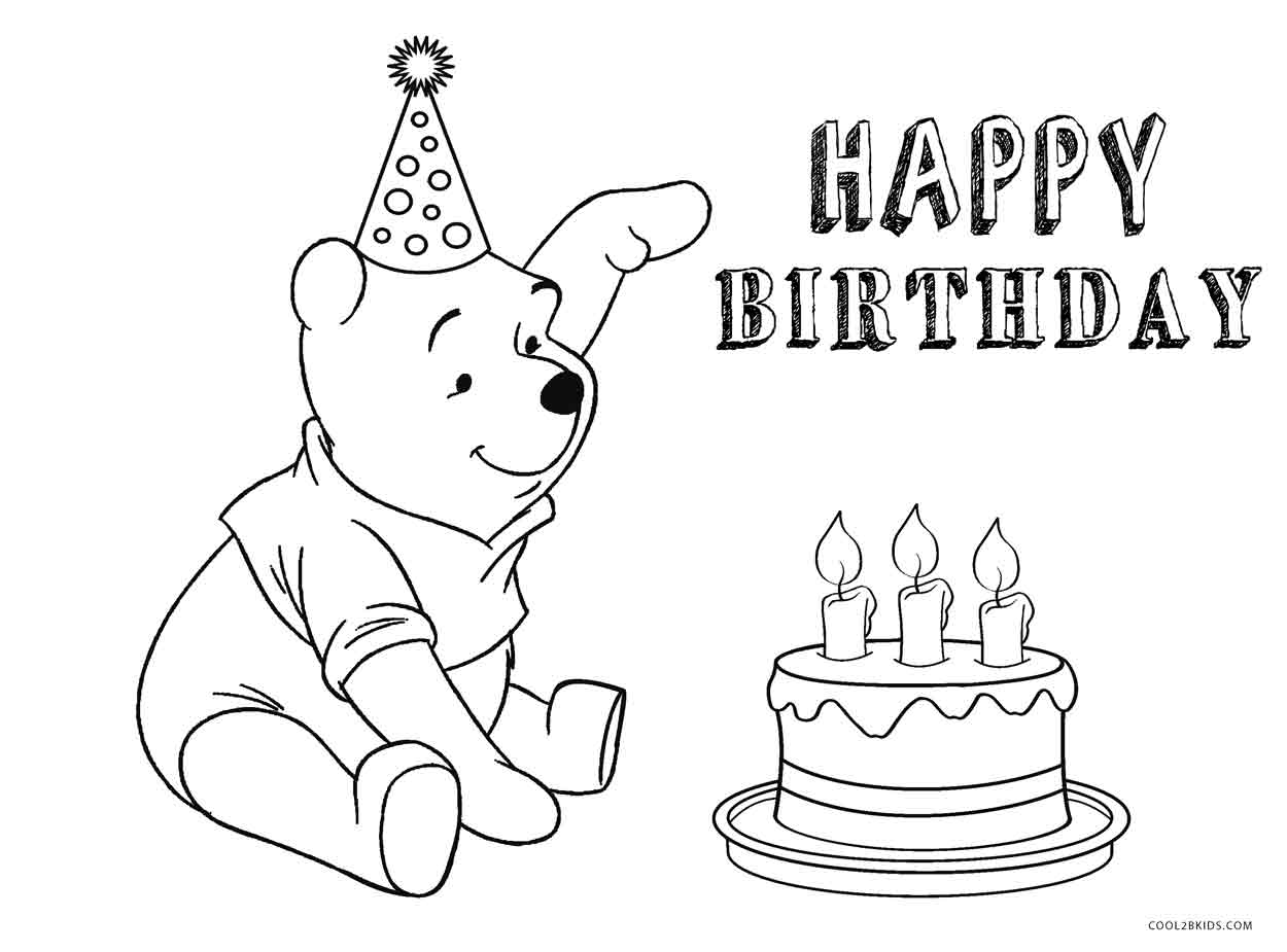 Disney Birthday Cake Coloring Page