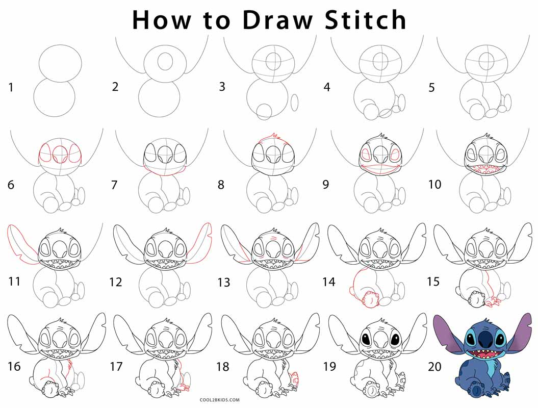 How to Draw Stitch (Step by Step Pictures) | Cool2bKids