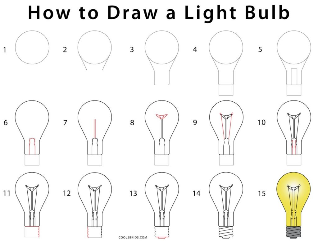 how to draw a lightbulb  step by step pictures