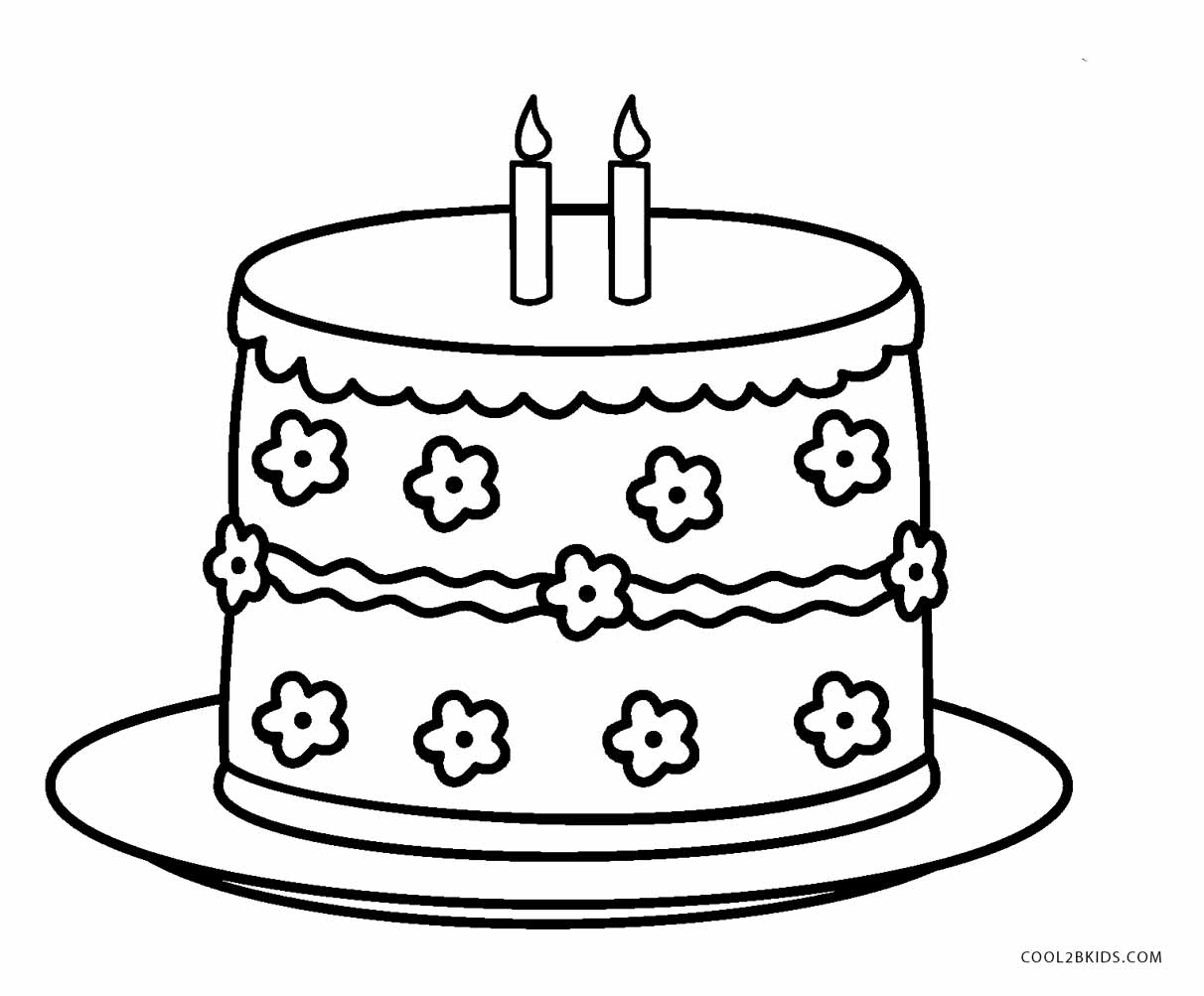 Birthday Cake Coloring In Image Inspiration Of Cake And