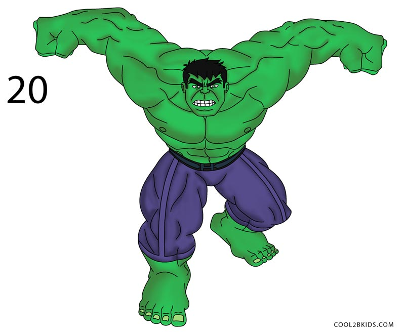 how to draw hulk step 20
