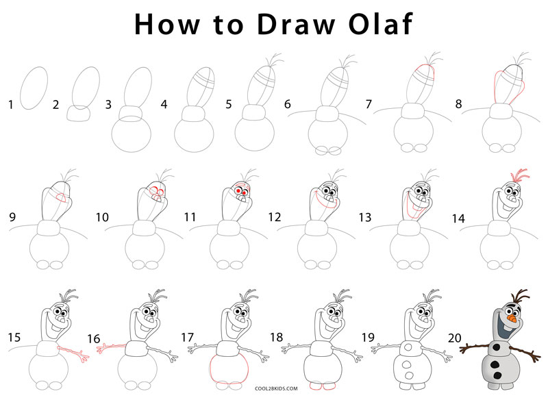 How to draw olaf step by step