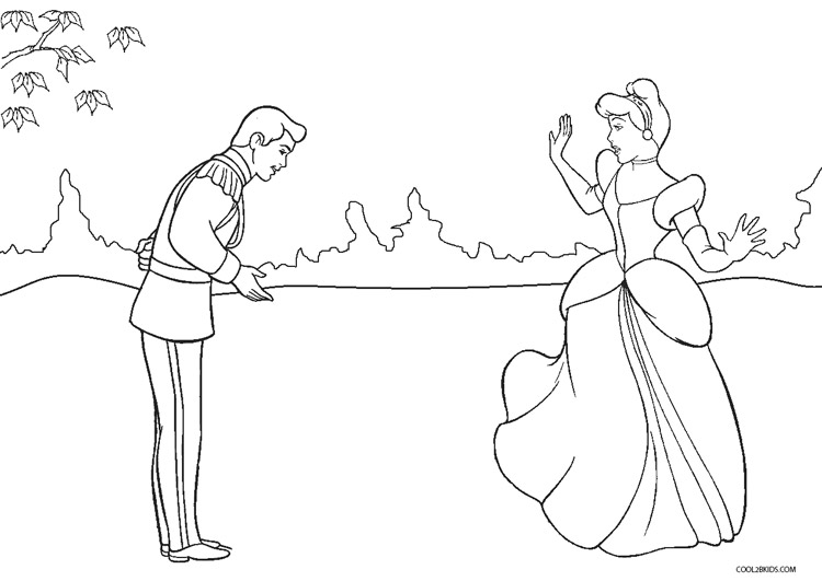 Coloring Pages Cinderella And Prince Charming