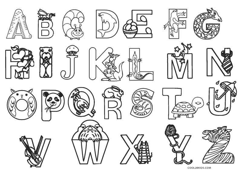 Printable Alphabet Book Page Coloring Pages