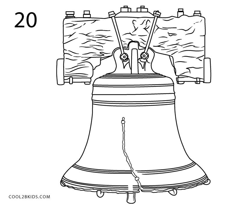 the liberty bell coloring page - how to draw the liberty bell step by step pictures