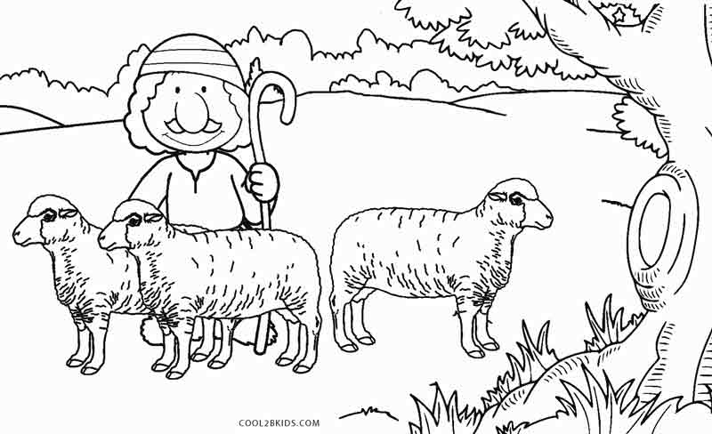 sheep and shepherd coloring page - Sheep Coloring Page
