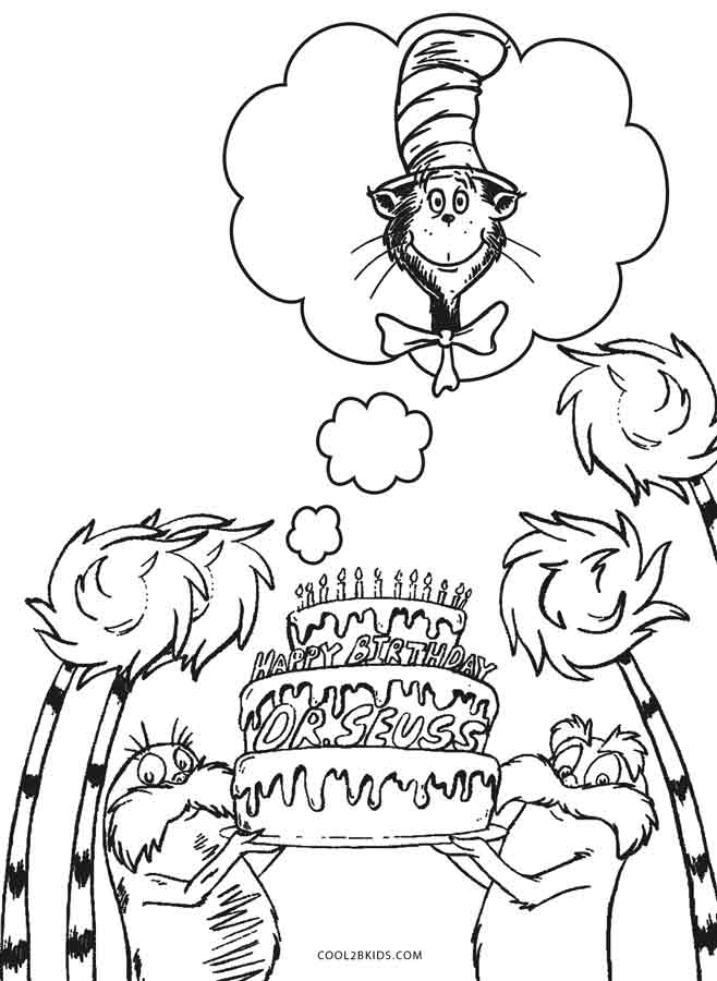 Dr Seuss Birthday Coloring Pages on zoo scene coloring page