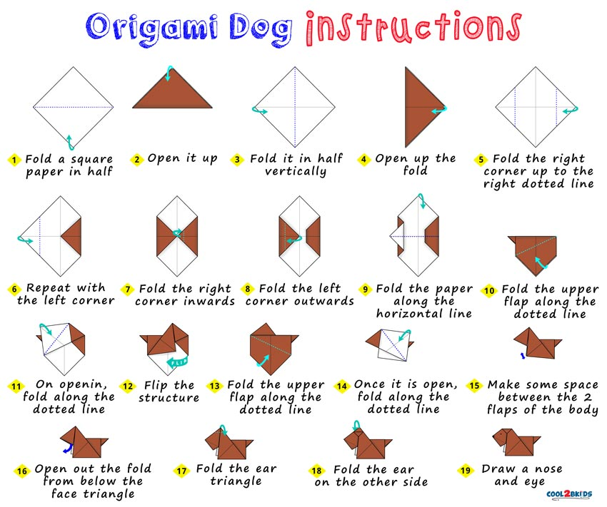 easy origami paper dog cool2bkids rh cool2bkids com Advanced Origami Dog Diagrams origami dog diagrams