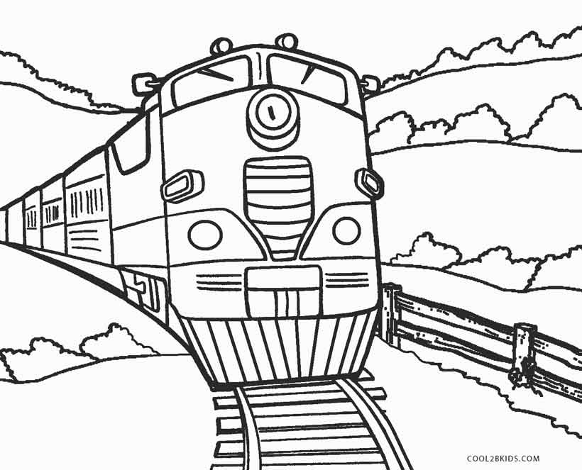 Train color pages free printable