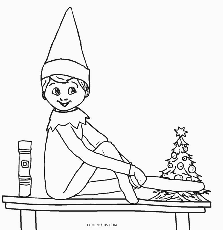elf christmas coloring pages printable - photo#34