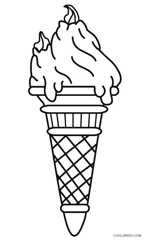 Ice Cream Cone Printable Coloring Pages