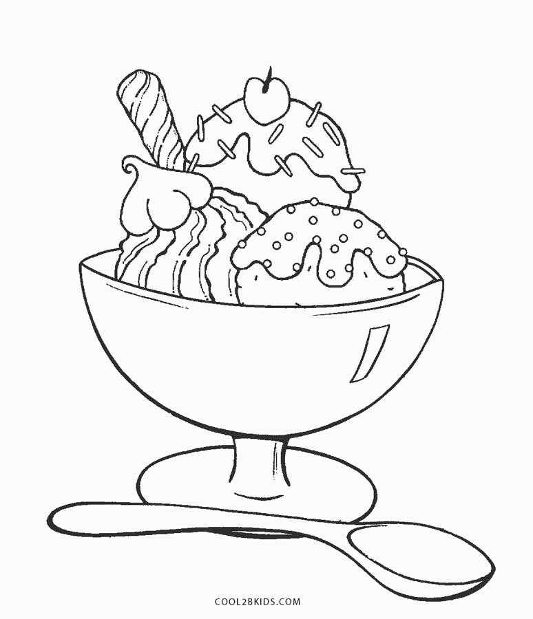 Great Ice Cream Sundae Coloring Page