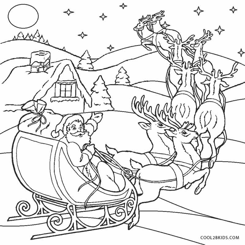 santa coloring printable pages | Free Printable Santa Coloring Pages For Kids | Cool2bKids