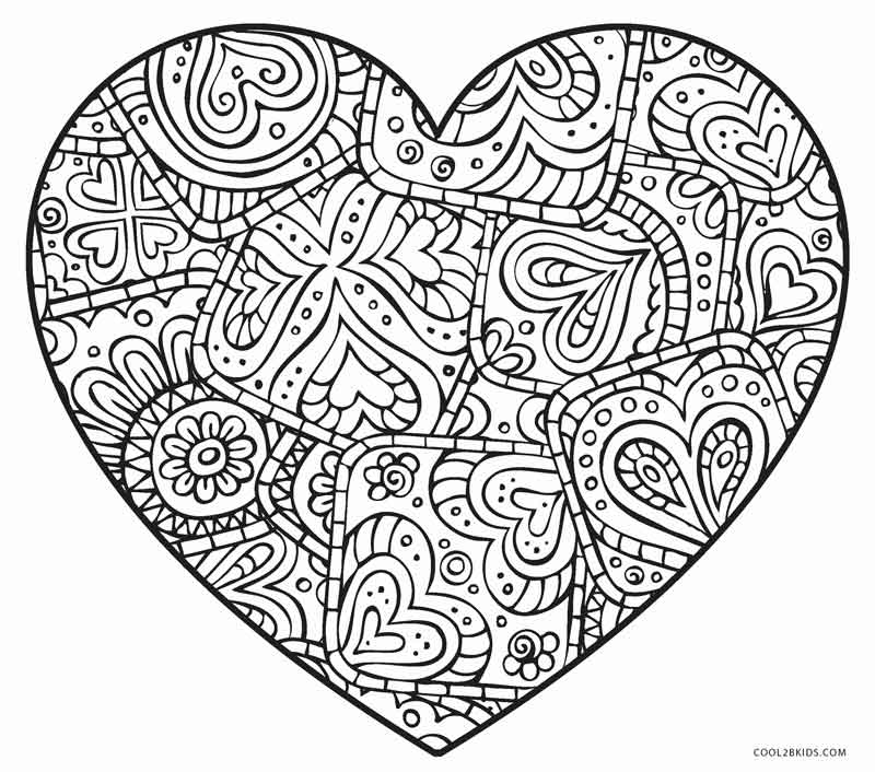 Heart and stars - COLORING PAGES | 706x800