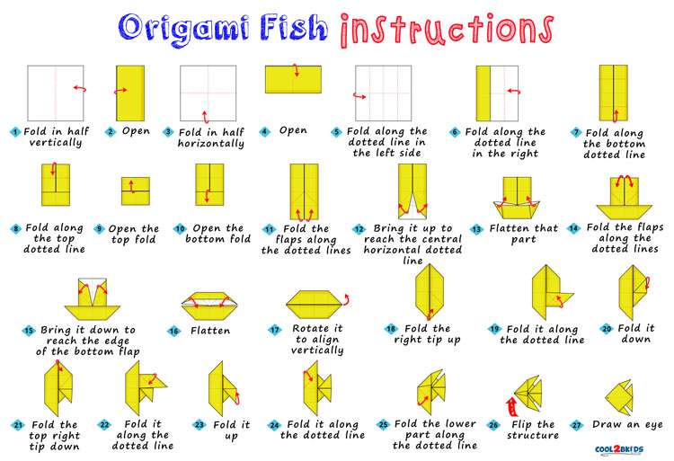 How to make an origami fish step by step cool2bkids for Origami fish instructions