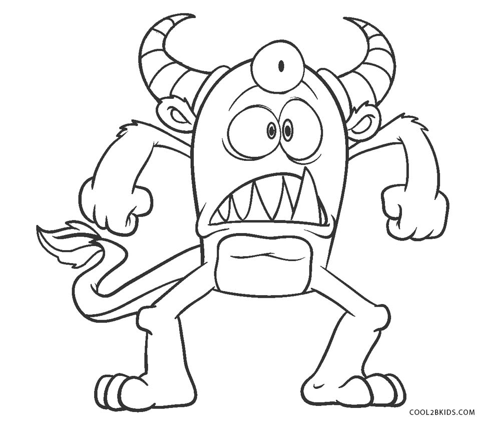 Peaceful image throughout monster coloring pages printable
