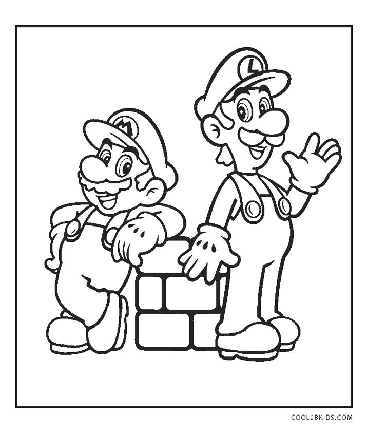 super mario brothers characters coloring pages