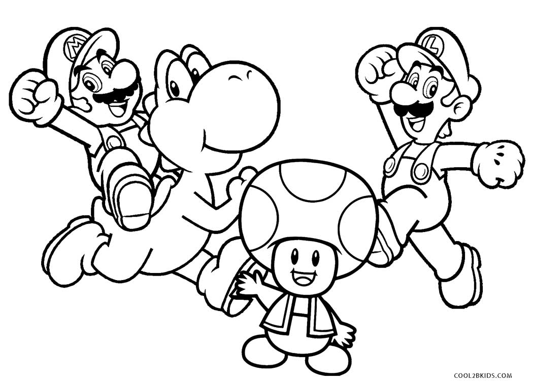 Geeky image within mario coloring pages printable