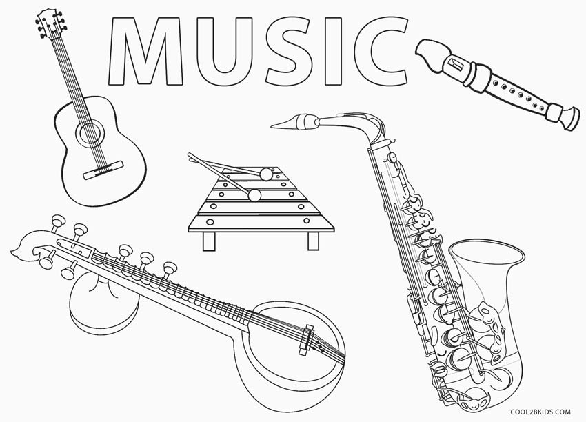 6 String Guitar Coloring Page - Free Instruments Coloring Pages ... | 612x850
