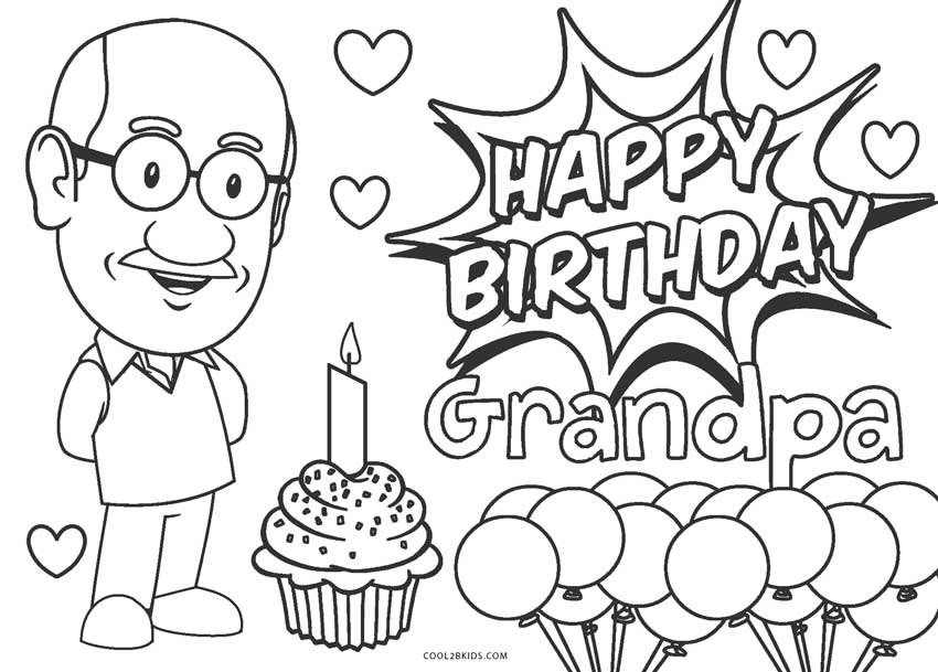 Happy Birthday Grandpa Printable Coloring Pages