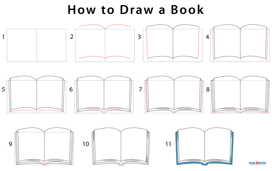 How to Draw a Book (Step by Step Pictures) | Cool2bKids