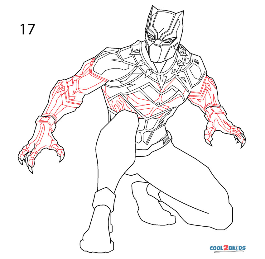 How to Draw Black Panther (Step by Step Pictures)