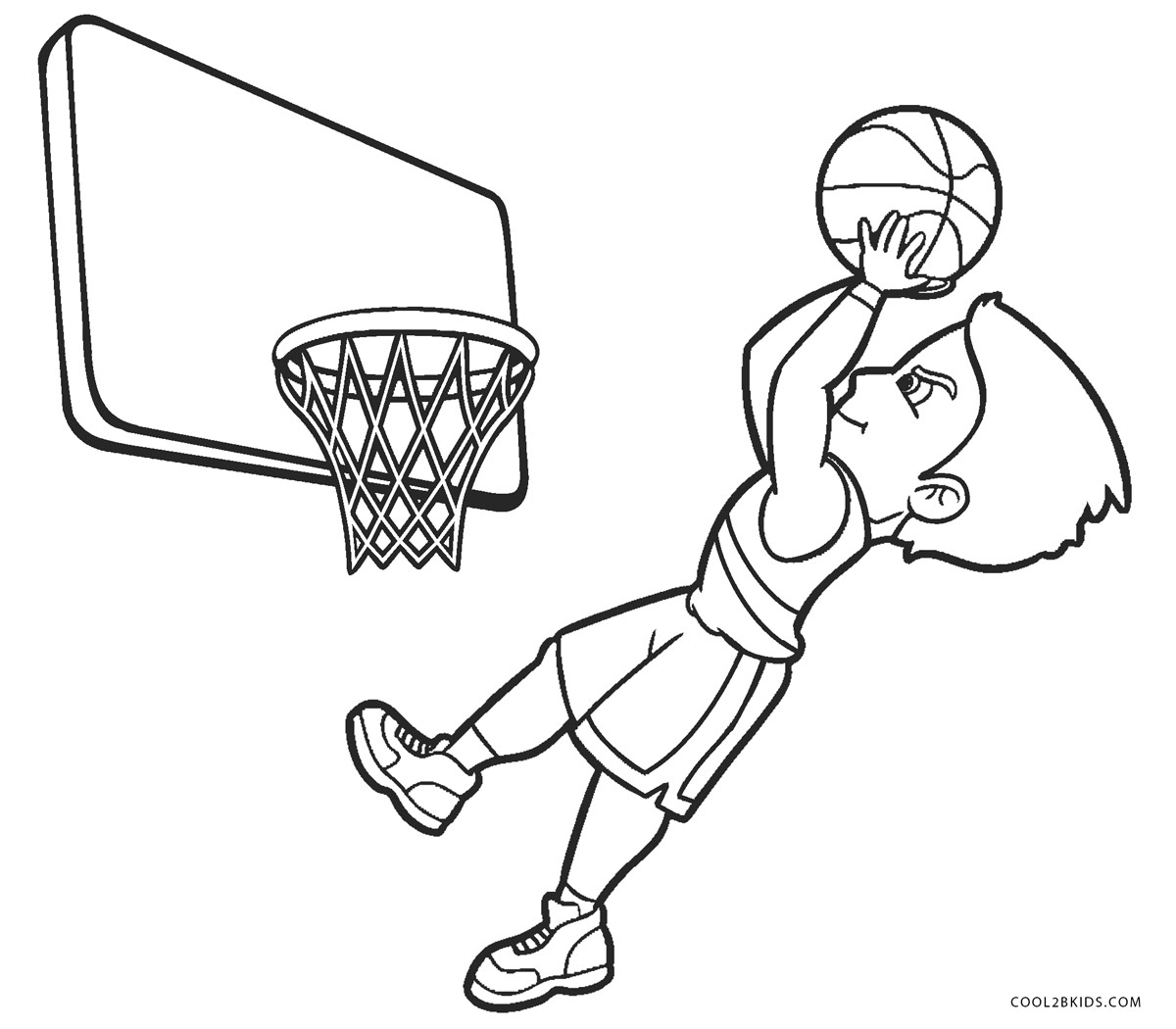 Basketball Hoop Coloring Page - Basketball Goal Coloring Sheet ... | 1050x1200