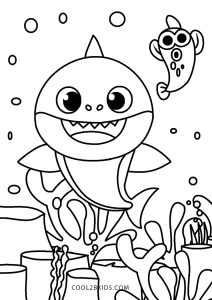 free printable baby shark coloring pages for kids