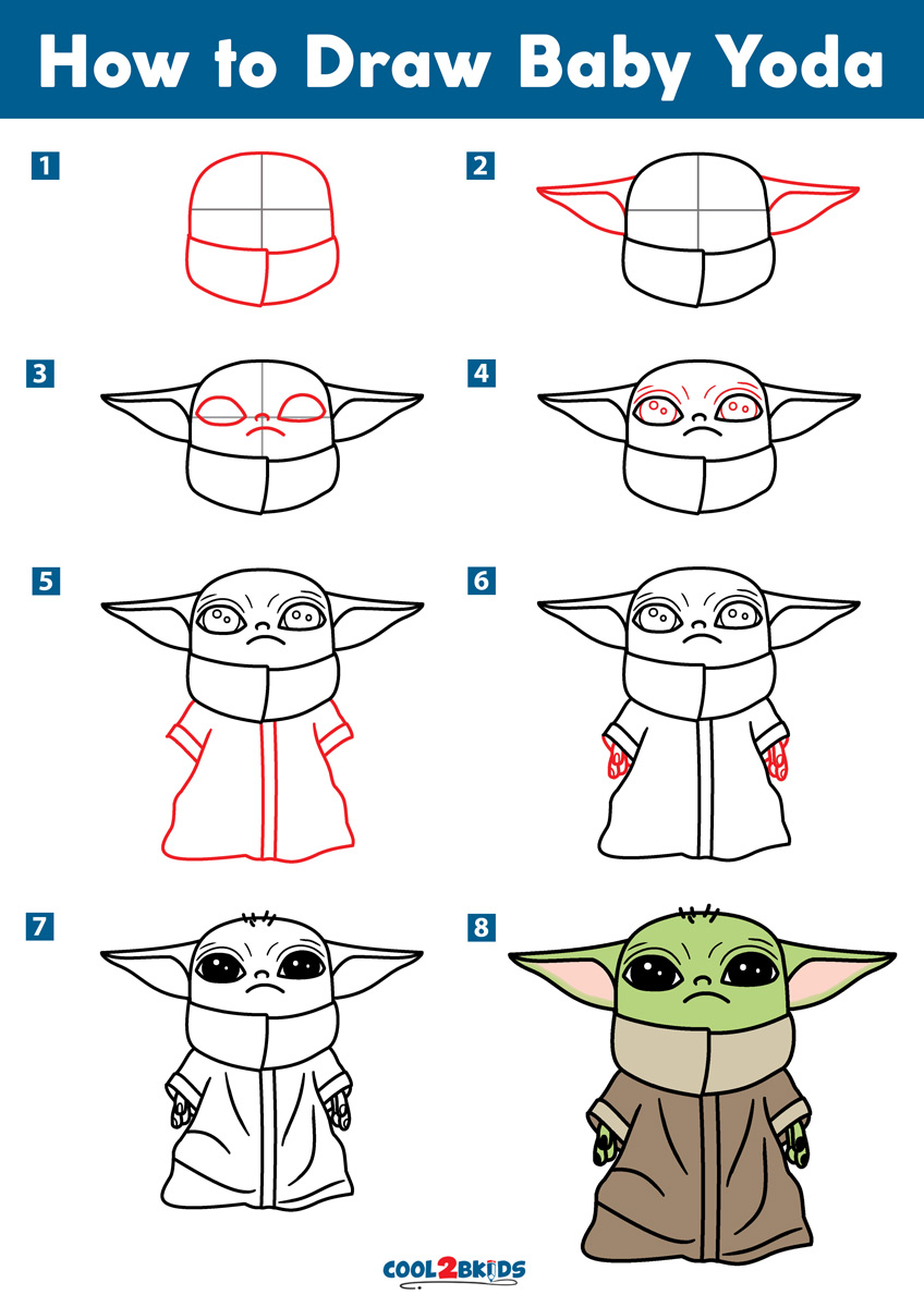 How to Draw Baby Yoda Step by Step